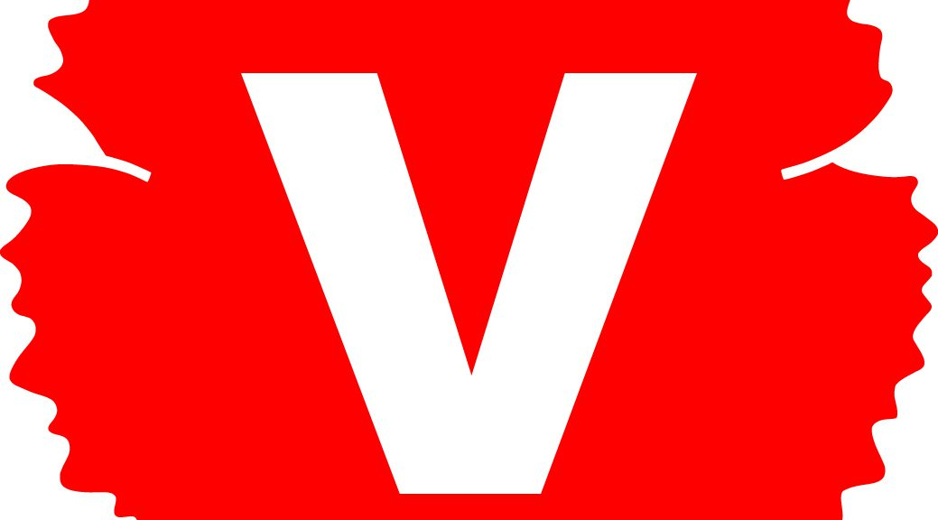 Vänsterpartiets logotyp, en röd nejlika med ett vitt v inuti, med vit bakgrund